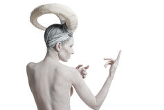 Female with goat body-art Stock Image