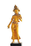 Female god statue. In a Buddhist temple isoalted on white background, Patatya Thailand Stock Image
