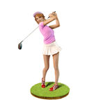 Female Golf player teeing off. 3D painting of a beautiful girl golf player teeing-off standing on a patch of grass, front view stock images