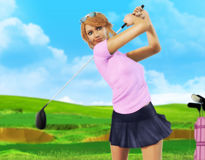 Female Golf player teeing off. 3D painting of a girl golf player teeing-off with on a beautiful day, front view Stock Photos