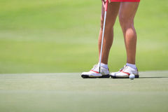 Female golfer putting on green. Royalty Free Stock Photography
