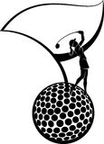 Female Golfer Silhouette and Golf Flag on a Ball. Black and white vector illustration of a young woman golfer on a golf ball with a golf flag Stock Images