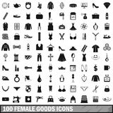 100 female goods icons set, simple style. 100 female goods icons set in simple style for any design vector illustration Stock Image