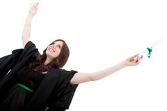 Female graduate celebrating Royalty Free Stock Photo