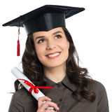 Female Graduate With Certificate. Beautiful Young Girl Holding Diploma Certificate Isolated On White Background Royalty Free Stock Photo