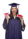 Female Graduate with Diploma and Stack of Gift Wrapped Hundreds Stock Photos