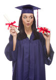 Female Graduate with Diploma and Stack of Gift Wrapped Hundreds Stock Images