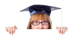 Female graduate displaying a banner Stock Photography