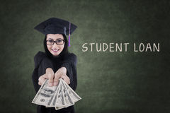 Female graduate get money from student loan Stock Images