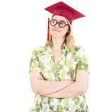 Female graduate with glasses Stock Image