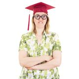 Female graduate with glasses Stock Photography