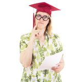 Female graduate with glasses Royalty Free Stock Images