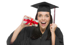 Female Graduate Holding Stack of Gift Wrapped Hundred Dollar Bil Royalty Free Stock Photography