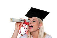 Female Graduate Playing With Diploma Royalty Free Stock Photos