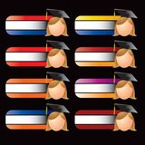 Female graduate on specialized banners Stock Image