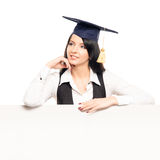 A female graduate student with a banner Royalty Free Stock Image