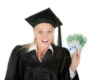 Female graduate student holding money Stock Photography