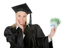 Female graduate student holding money Stock Images