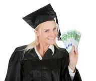 Female graduate student holding money Royalty Free Stock Image