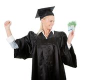 Female graduate student holding money Royalty Free Stock Photography