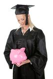 Female graduate student holding money Stock Photos