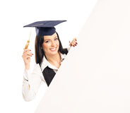 A female graduate student with a white banner Royalty Free Stock Photography