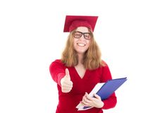 Female graduate very happy about her choice Royalty Free Stock Photo