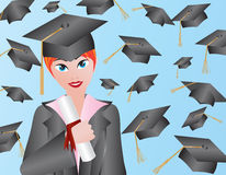 Female Graduation Illustration Stock Image