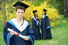 Education. happy graduation students with diploma Stock Image