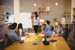 Female graphic designer discussing chart on white board with coworkers. In the office Royalty Free Stock Images