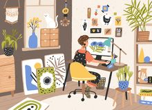 Female graphic designer, illustrator or freelance worker sitting at desk and work on computer at home. Creativity. Process, creative workplace. Modern vector royalty free illustration
