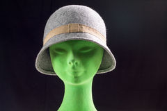 Female gray hat on mannequin head Stock Images