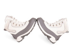 Female gray hiking shoes on a white background Royalty Free Stock Photography