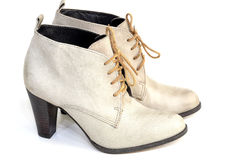 Female gray suede shoes Stock Images