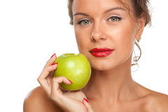 Female with green apple Stock Photo