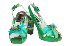 Female green shoes Royalty Free Stock Images