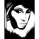 Female grunge face silhouette. Female grunge face vector illustration silhouette Stock Images