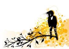 Female grunge music. A female enjoying music with design elements royalty free illustration