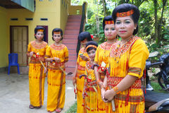 Female guests at a traditional wedding in Tanah Toraja Stock Image