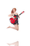 Female guitar performer Royalty Free Stock Image