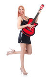 Female guitar performer Stock Image