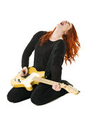 Female Guitar player. Isolated on white background Stock Images