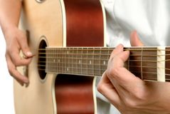 Playing the acoustic guitar Stock Images