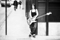 Female guitarist portrait Stock Images