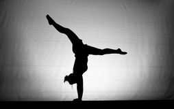 Female gymnast handstand. Young female gymnast doing a handstand on balance beam Stock Images