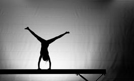 Female gymnast handstand. Young female gymnast doing a handstand on balance beam royalty free stock photo