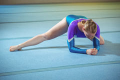 Female gymnast performing stretching exercise royalty free stock photography
