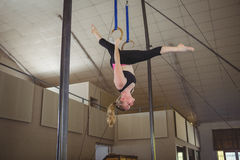 Female gymnast practicing gymnastics on rings royalty free stock image