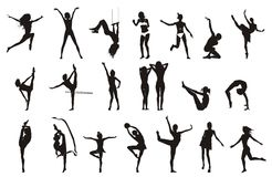 Female Gymnastic Pose Drawings Royalty Free Stock Image