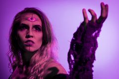 Gypsy of the Fog. A female gypsy character. Halloween/Horror inspired with dark themes. Custom theatrical lighting and special effects makeup used. Blonde female stock photos